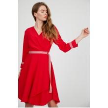 Red Three-quarter Sleeve Midi Dress