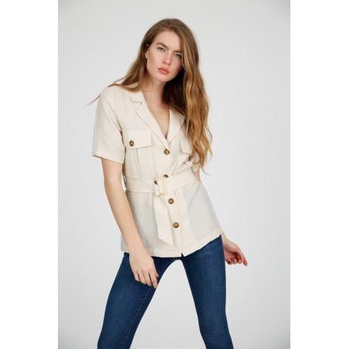 Beige Shirt Collar Short Sleeve Shirt