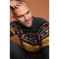 Kazak Gray Ethnic Patterned Slim Fit Sweater Pullover