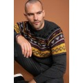 Kazak Gray Ethnic Patterned Slim Fit Sweater Pullover