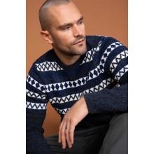 Kazak Navy Blue Ethnic Detailed Striped Sweater Pullover